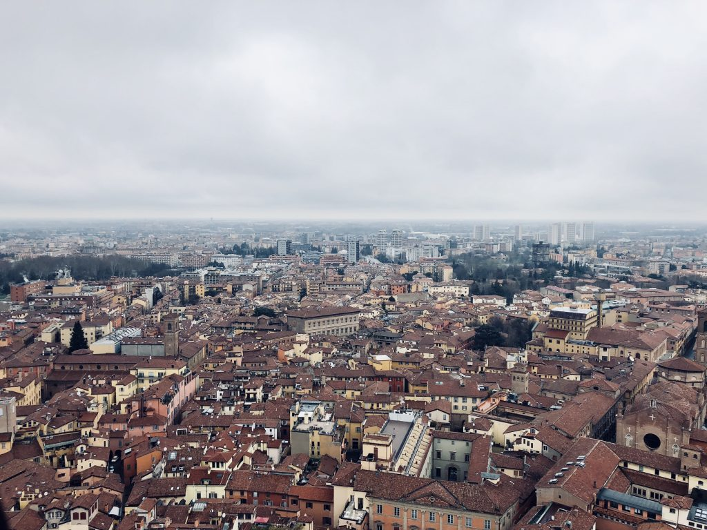 View of the city of Bologna from the twin towers