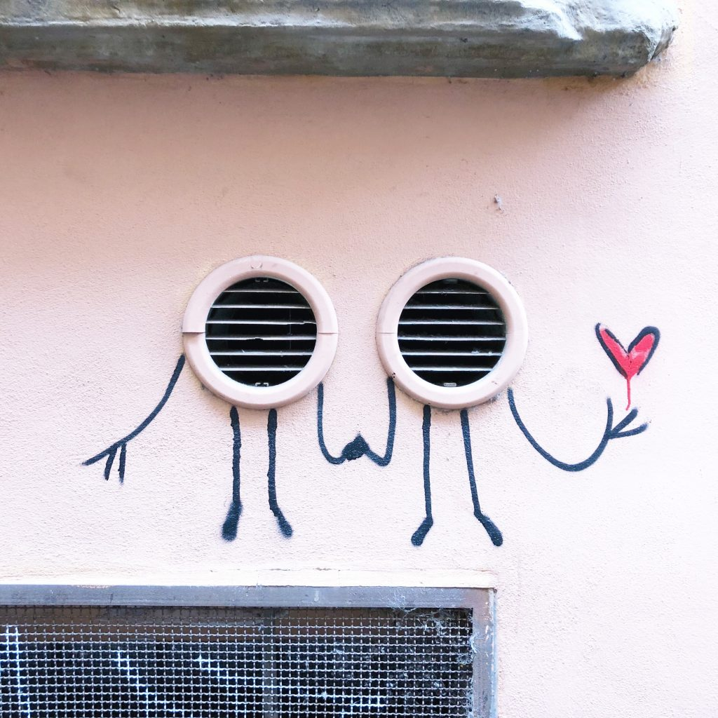 Street art with body and a heart