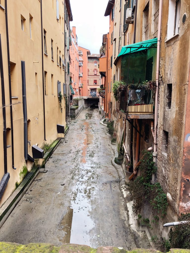 Dried up alley in Bologna