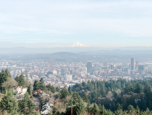 View of Portland and Mountain